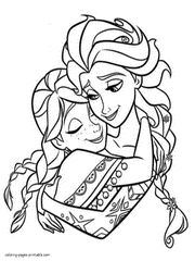 Free printable Frozen coloring pages. Elsa and Anna