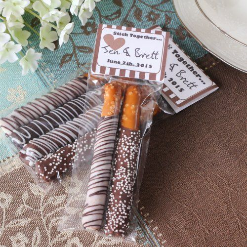 Personalized Bridal Chocolate Covered Pretzel Sticks by Beau-coup