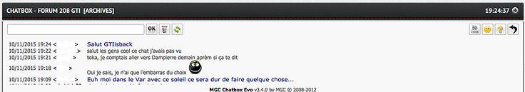 Nouvelle petite fonctionnalité du Forum pour les membres inscrits, une chatbox est disponible et permet de dialoguer en temps réel.  www.208gti.fr