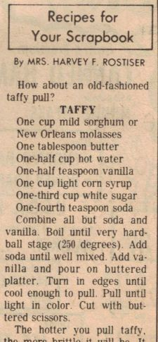 Taffy Recipe Clipping...I'm sure they make this someplace in PA Dutch Country!