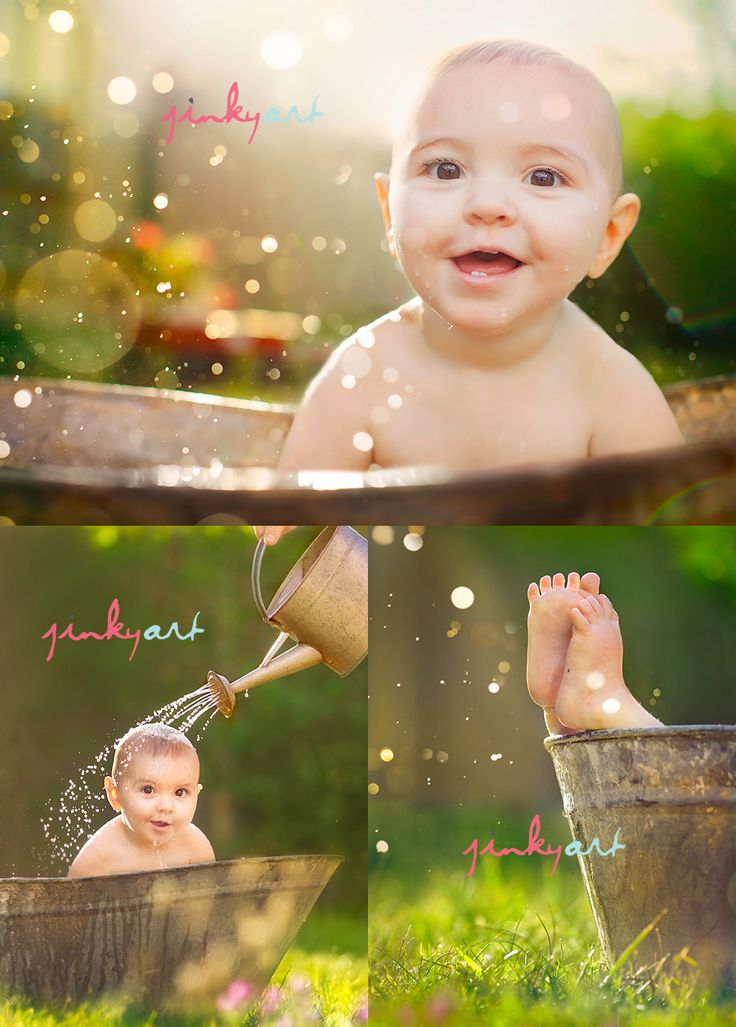 Love this! Especially the tub.: Photos Ideas, Infants Photography, Summer Photos, Wash Tubs, Outdoor Bath, 6 Month Photos, Baby Photos, Bath Time, Photography Ideas