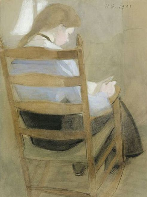 Reading Seated Girl - Helene Shjerfbeck 1904