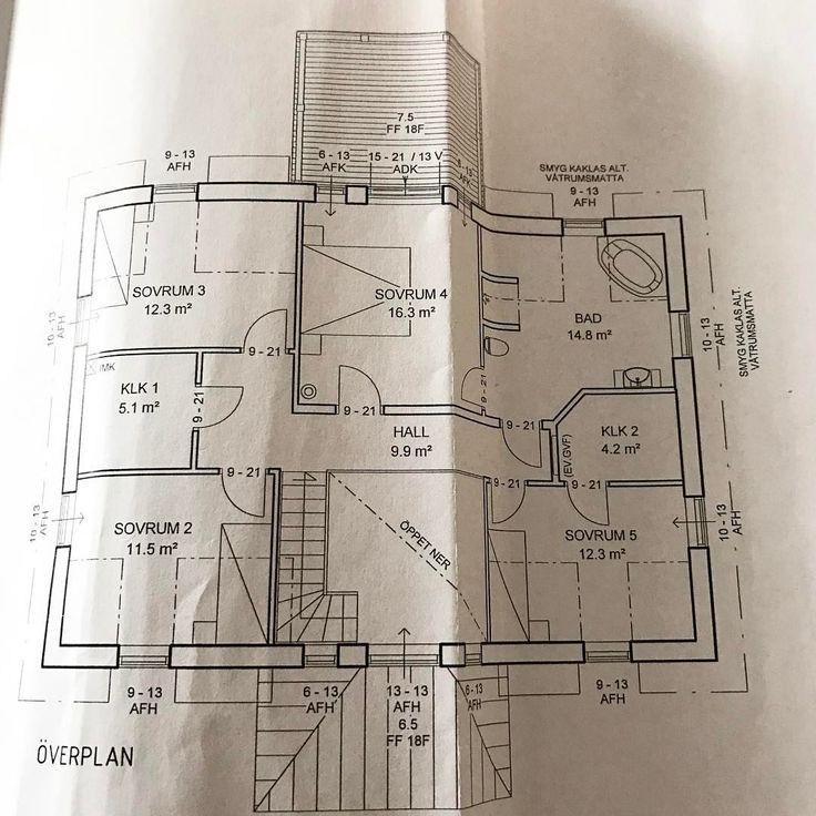 Planritning övre plan- 3 barnsovrum och vårt sovrum samt stort badrum. Vi valde att inte ha något mer rum på övervåningen utan istället ha högt i tak. 5.30 blir takhöjden från hallen  #planlösning #planritning #familj #sovrum#badrum#inredning#fiskarhedenvillan #fiskarheden#byggahus#bygganytt2017#spoven#knutsbo#ludvika#övreplan#högtitak