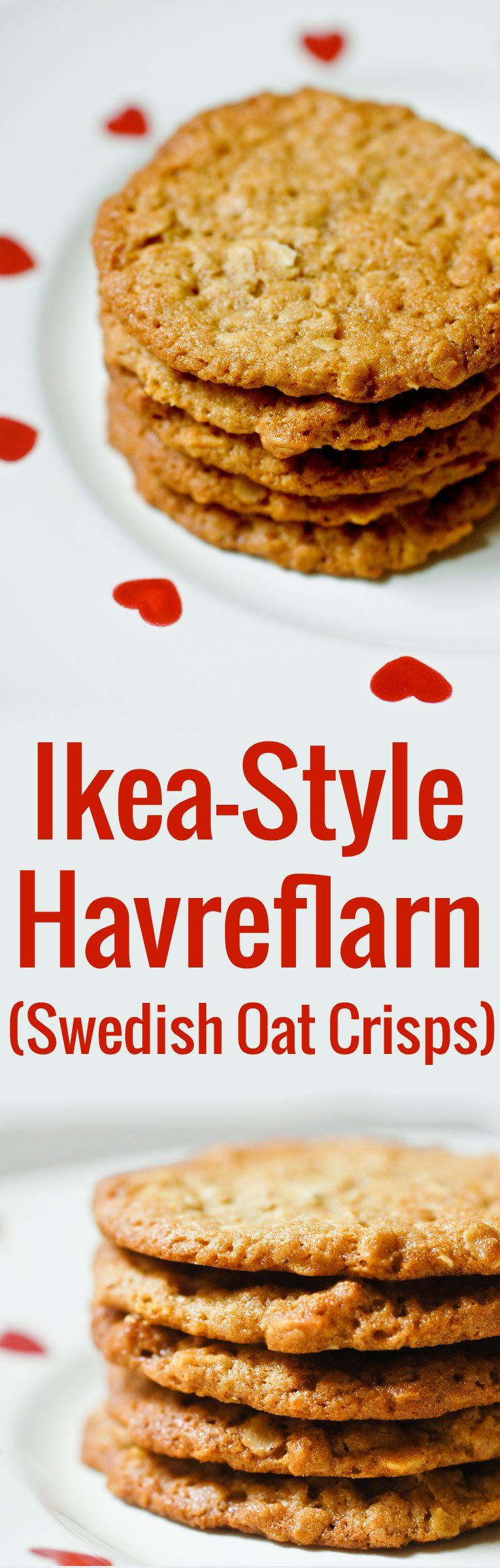 A super easy, dump-and-stir recipe for havreflarn, the delicious Swedish oat crisps you get at IKEA. Leave them plain or sandwich them with dark chocolate!