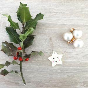 Décoration de Noël en argile polymère Etoile Kawaii by Fée Plaisir 3€