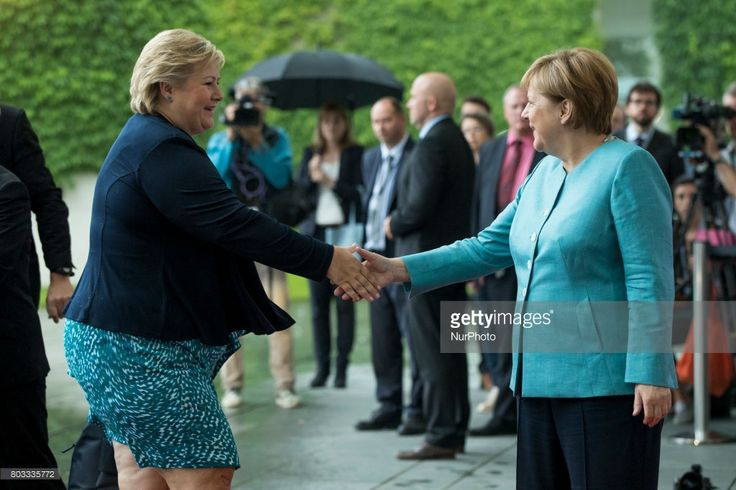 German Chancellor Angela Merkel (R) greets Norway's Prime Minister Erna Solberg (L) upon her arrival at the CHancellery on June 29, 2017. Chancellor Merkel is meeting today the the European leaders of the G20 prior to the G20 which will be in Hamburg on July 7 and 8, 2017.