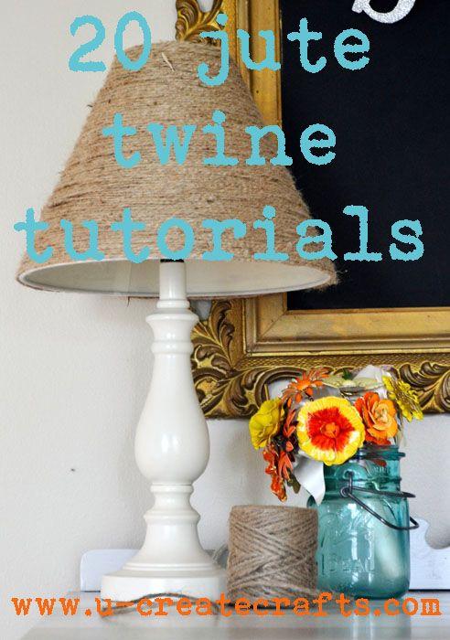 20 tutorials for using twine: Burlap Jute Twine Raffia, 20 Jute, Twine Tutorials, Crafty Favorite, Burlap Tutorials, Burlap Twine, Interiors Decor, Things To Do, Twine Crafts