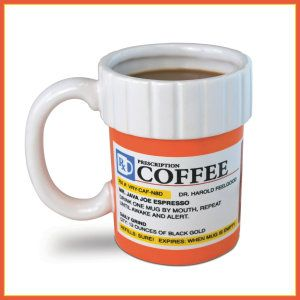 Big Mouth Toys The Prescription Coffee Mug This is my kind of mug. This would be an excellent gift for a coffee addict. Just what the doctor ordered. But it only takes 12 ounces, a bigger mug is needed for me. It is both microwave and dishwasher safe. http://theceramicchefknives.com/ceramic-mugs-variety/