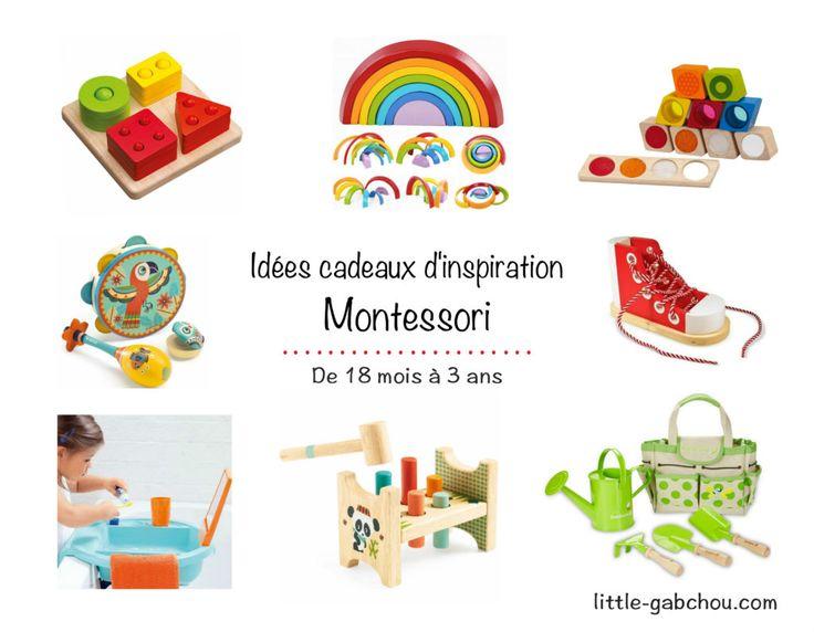 Ma liste de jouets et objets dans l'esprit de la pédagogie Montessori pour stimuler le développement et l'autonomie de l'enfant . Liste complète ici: http://little-gabchou.com/idees-cadeaux-montessori-pour-enfants-de-18-mois-a-3-ans/ #ideescadeaux #jeux #jouets #enfants #Montessori #jouetsenbois #cadeau #practicallife #viepratique