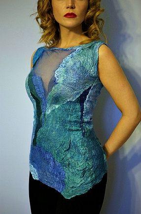 Валяная блуза Волна из коллекции Глубокое синее море
