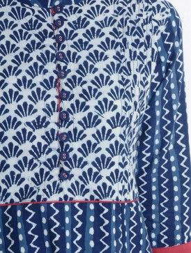 Indigo-Red Natural Dyed Bagru Printed Pintuck Detailed Cotton Kurta by Jaypore