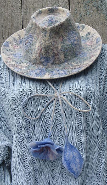 Купить Шляпа федора - шляпа, павловопосадский платок, нунофелтинг, голубой, австралийский меринос, павловопосадский платок