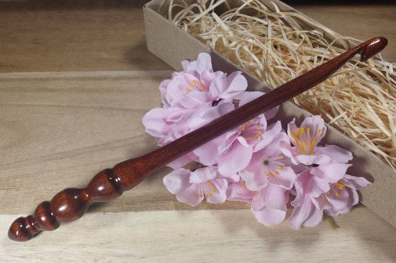 Handturned Crochet Hook Lacquered Rosewood by OnceAgainAndForever