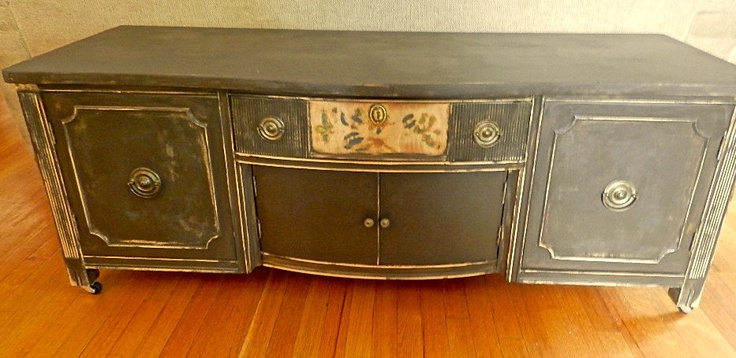 Vintage Wood Bench.Handpainted Chest.Distressed.TV Stand on Wheels.1950s.Refurbished Chest.. $200.00, via Etsy.