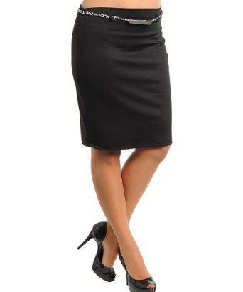 Stanzino Women's Knee Length Solid Skirt with Belt BLACK S Stanzino. $14.00