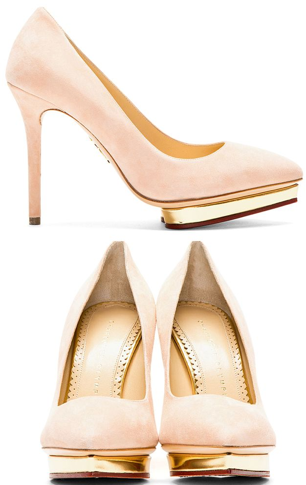 Low-top suede pumps in blush. Pointed toe. Heart-shaped platform with metallic gold trim.  http://www.zocko.com/z/JFNNN
