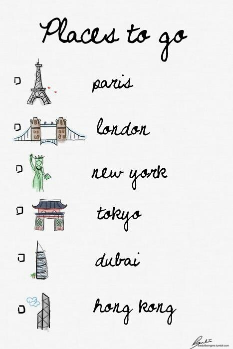 the ultimate travel wishlist. I've been to 2 of 6. I can't wait to travel to many more.