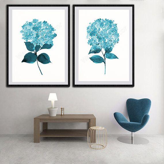 Hydrangeas Watercolor Art Prints  Set of 2 Blue by watercolordecor