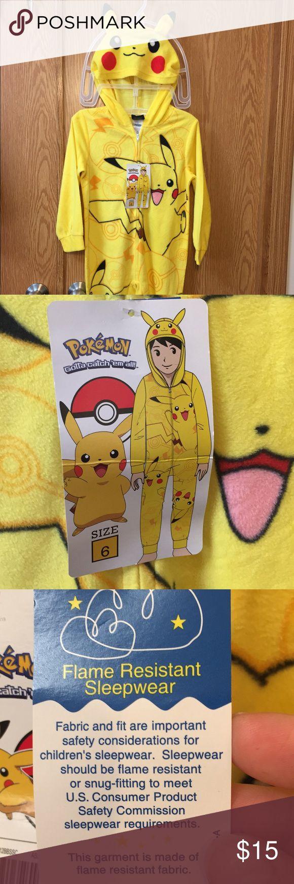 """Pikachu Pokemon Pajamas Cute, full body, hooded Pikachu pajamas (from Pokémon). NWT. Size 6. Not """"footie"""" pajamas (no stinky feet!). Smoke free home. Pokemon Pajamas"""