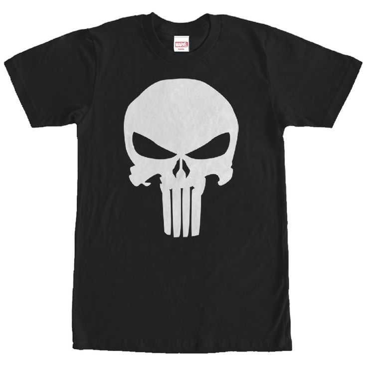 Punisher Untouched - Come face to face with Deaths eerie stare on the Marvel Punisher Classic Skull Symbol Black T-Shirt. The infamous Punisher emblem is  in a classic style on this black Punisher shirt.