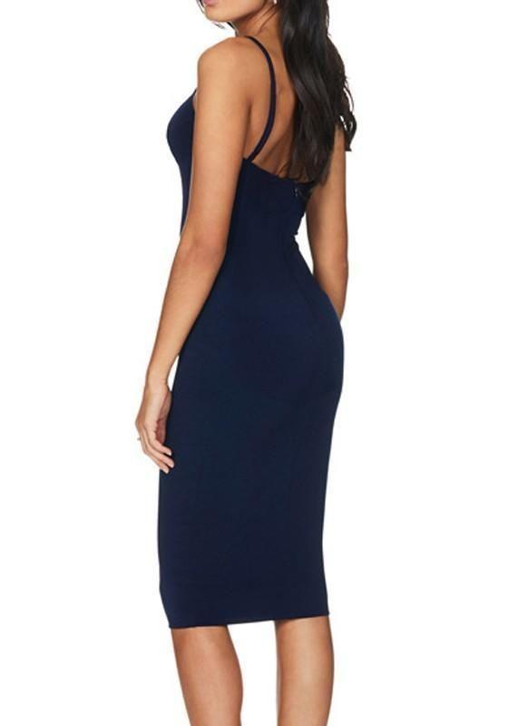 14d24f71a62a0 Dark Blue Plain Condole Belt Cut Out Midi Dress