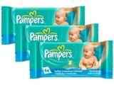 Conjunto de Lenços Umedecidos Pampers Baby Care - 3 Pacotes com 64 Unidades Cada