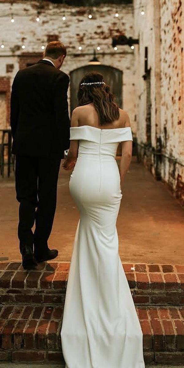 off the shoulder wedding dresses sheath straight neckline simple laura hamon photography