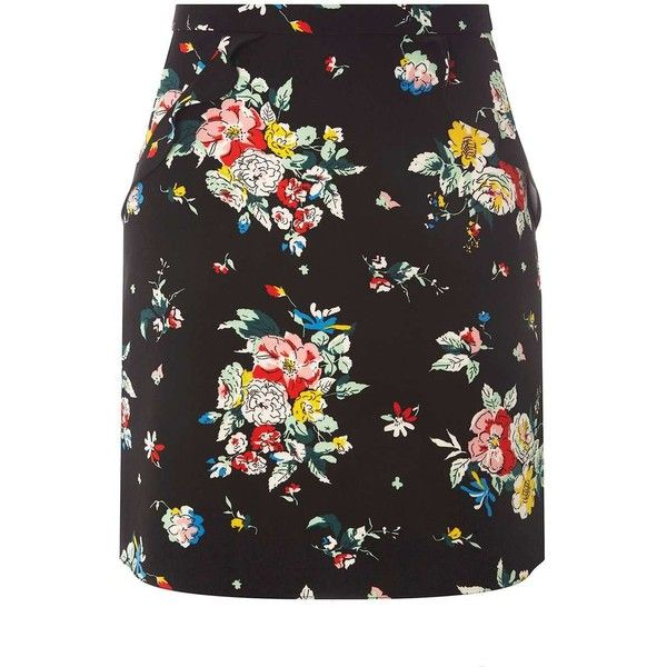 Dorothy Perkins Black Floral Print Ruffle Mini Skirt (785 EGP) ❤ liked on Polyvore featuring skirts, mini skirts, black, dorothy perkins, short skirts, mini skirt, flounce skirt and floral print mini skirt