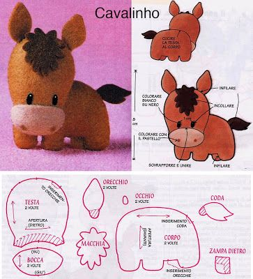 DIY Kawaii Felt Horse / Foal with FREE Sewing Pattern / Template