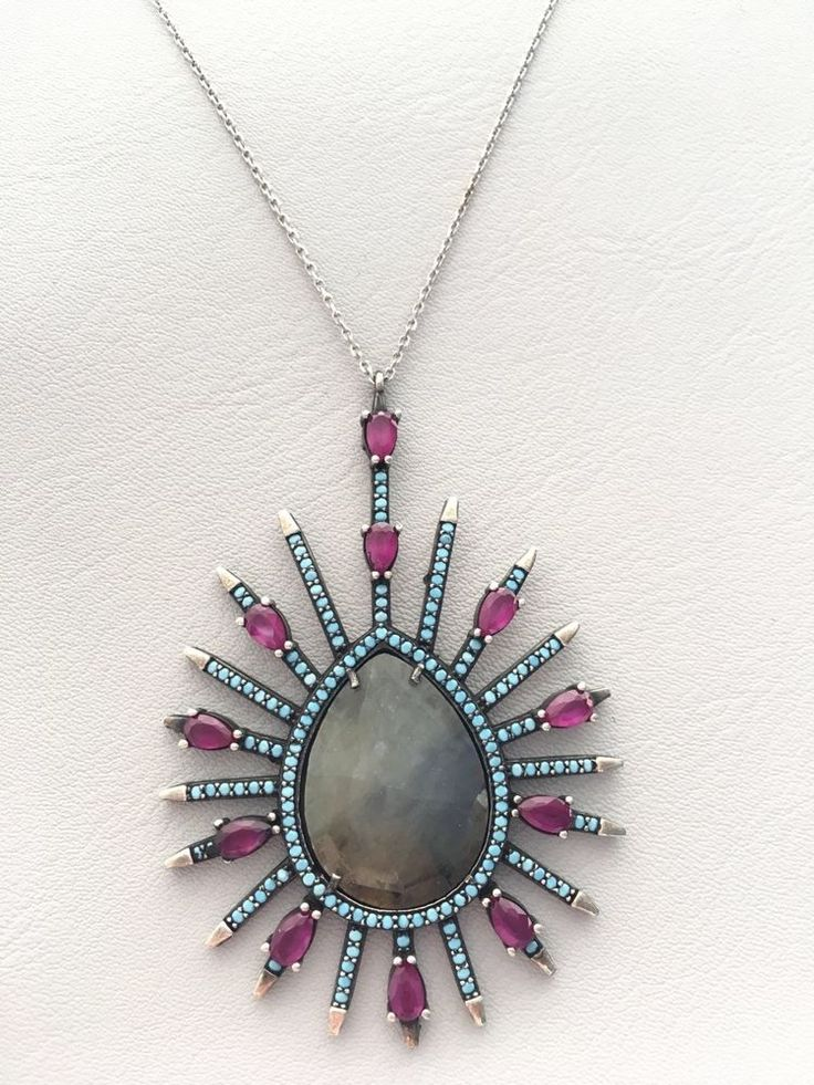 TURKISH HANDMADE STERLING SILVER NATURAL STONE,TURQUOISE, RUBY NECKLACE  | eBay