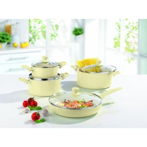 Maxxcuisine 50' Retro Keramik Kochset 8 Teilig Vanille Topfset Induktion Bratset | eBay