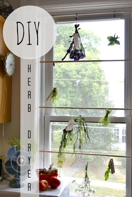 Create a herb drying rack for your window. A temporary option perfect for small living!!