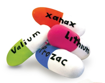 PILL-ows! Capsule shaped cozy pillows labeled xanax, lithium, valium and prozac.