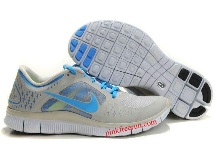 Granite Blue Glow Pro Platinum Blue Glow Nike Free Run 3 Men's Running Shoes