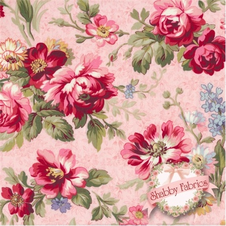 """Lakehouse Penelope 11035 Pink by Holly Holderman for Lakehouse Dry Goods: Lakehouse Penelope 4, 5, 6 by Holly Holderman for Lakehouse Dry Goods.  100% cotton, 44""""/45"""" wide.  This fabric features a large scale rose floral print on a detailed pink background."""
