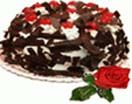 Black forest cake with single res rose available for Hyderabad delivery. Secured online gifts delivery to Hyderabad on your chosen date. Visit our site : www.flowersgiftshyderabad.com/Valentines-Gifts-to-Hyderabad.php