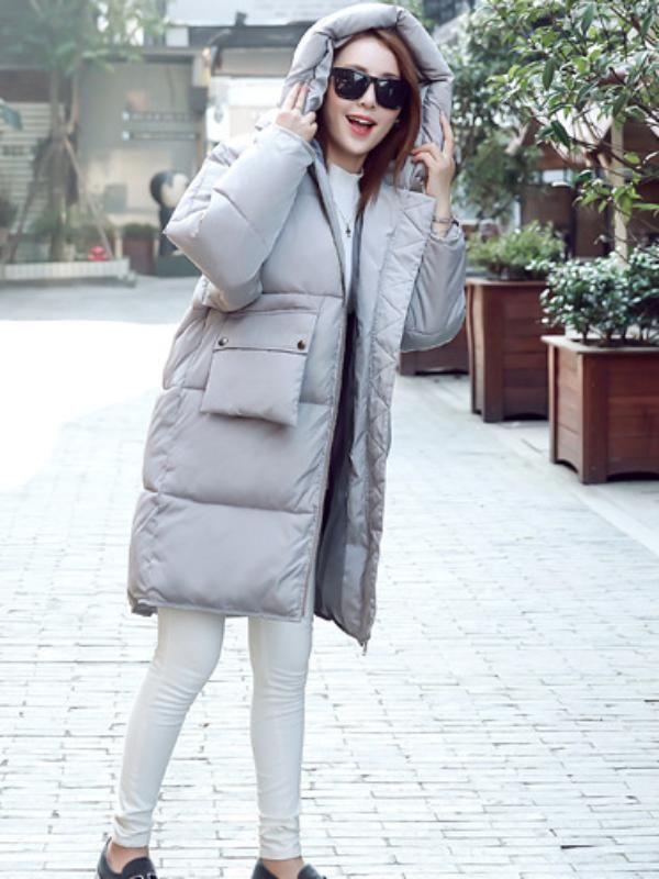 コート - 人気ありボリュームたっぷりフード付き無地ファッションダウンコート
