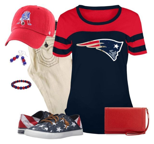 New England Patriots Game Day by carriefdix on Polyvore featuring 5th & Ocean, Sperry, Neiman Marcus and '47 Brand
