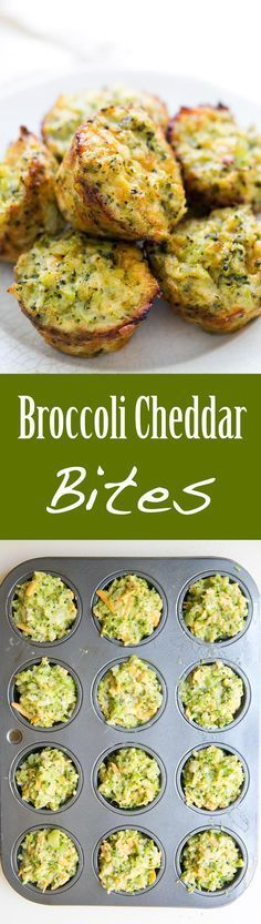 Broccoli Cheddar Bites ~ Cheesy baked broccoli snacks, great for a brunch, kid-friendly lunch, or party! ~ SimplyRecipes.com