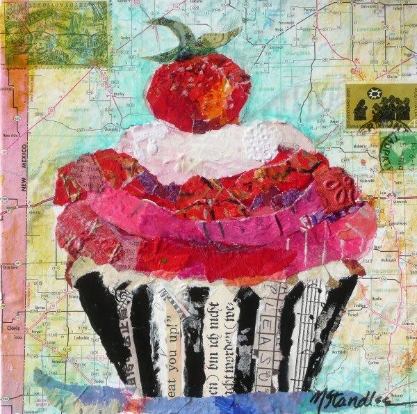 """Eat You Up, Cupcake"" hand painted paper mixed media collage by contemporary texas artist nancy standlee"
