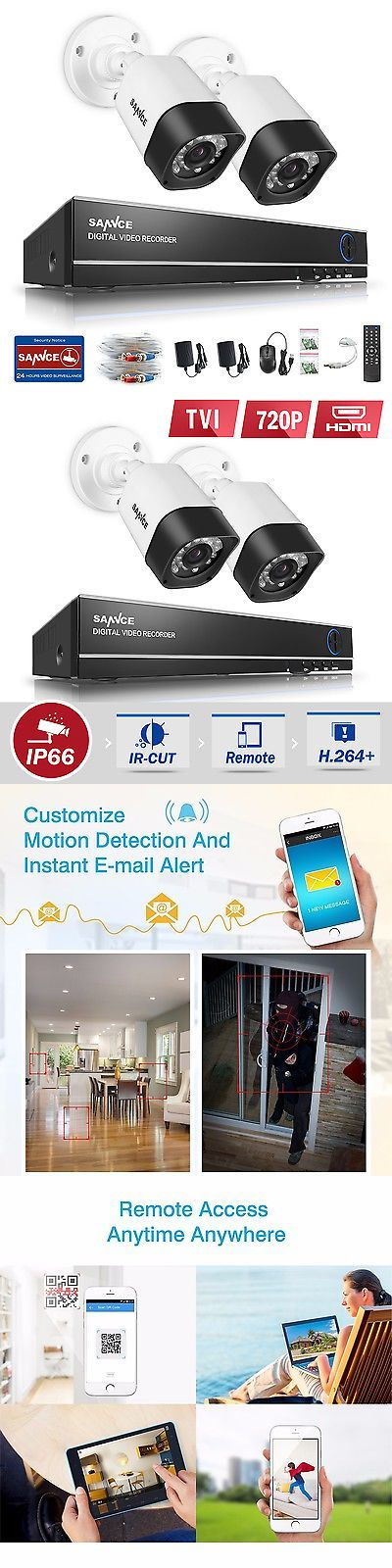 Security Cameras: Sannce 4Ch 1080N Dvr 720P 1500Tvl Home Outdoor Security 24Ir Camera System Alert BUY IT NOW ONLY: $59.99