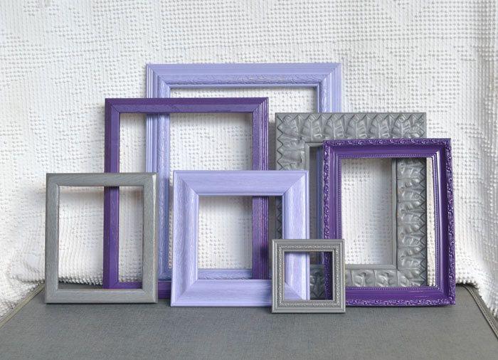 Purples, Greys Gray Painted Frames Set of 7 - Upcycled Frames Girls Modern Elegant Nursery decor. $60.00, via Etsy.