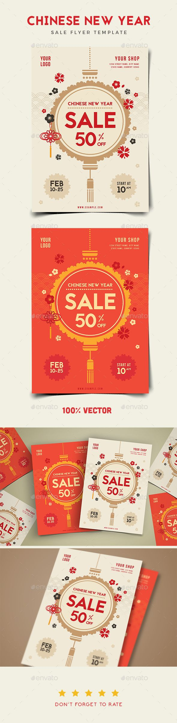 Chinese New Year Sale Flyer Template PSD, AI