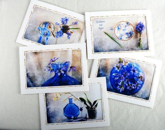 Lekre kunstkort i blåtoner  - 5 stk doble