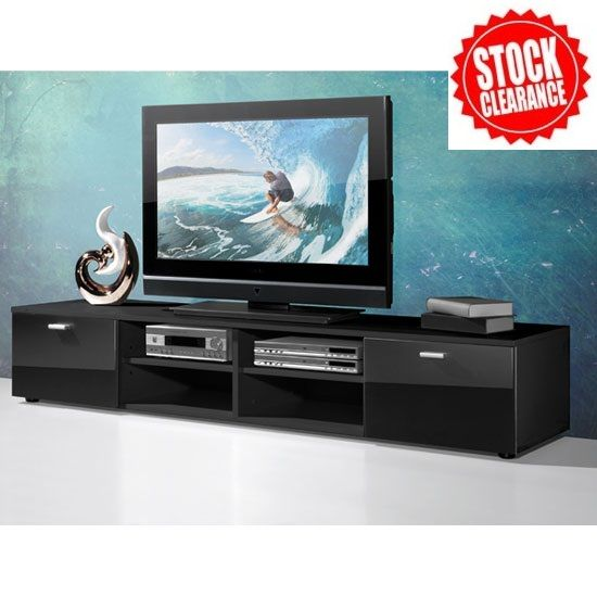 Contemporary LCD TV Stand In Black With Gloss Doors