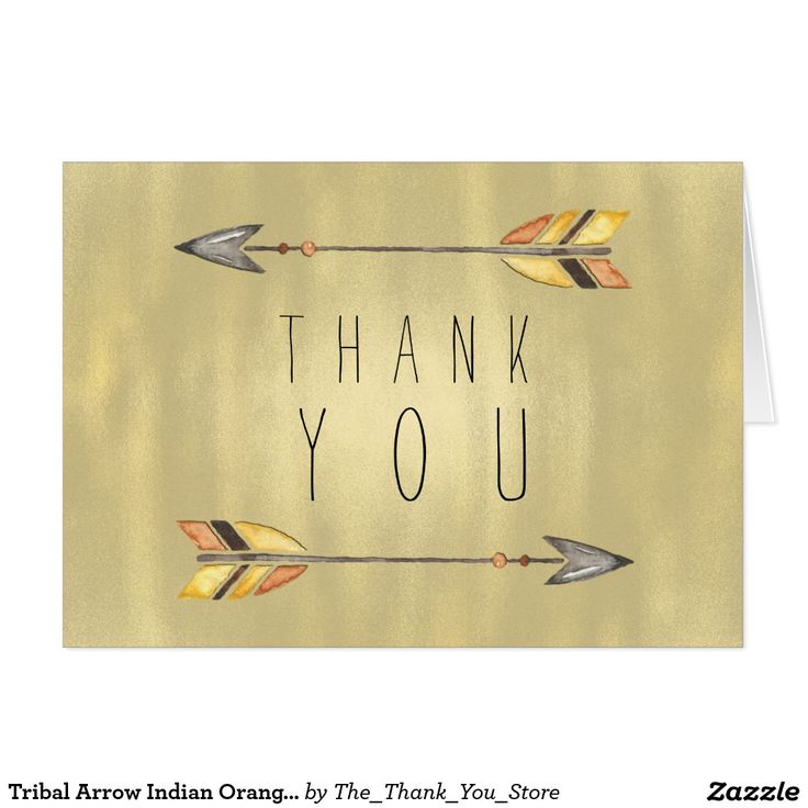 bridal shower thank you cards etiquette%0A Tribal Arrow Indian Orange Gold Thank You Card
