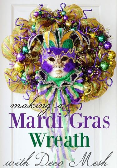 Making a Mardi Gras Wreath with Deco Mesh; a tutorial