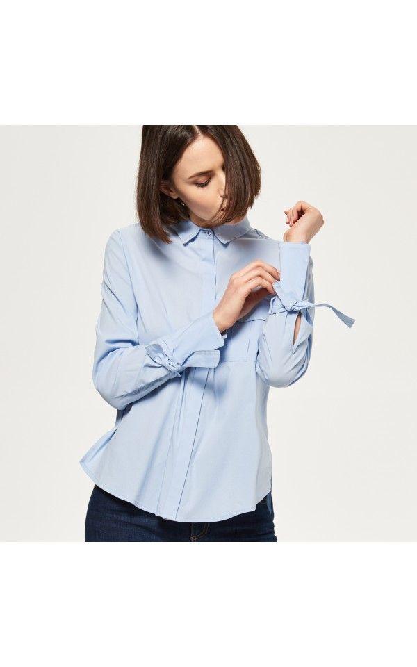 Koszula z wiązaniami przy mankietach, KOSZULE, niebieski, RESERVED