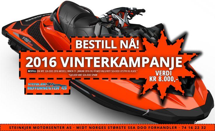 GLED deg til sommeren, BESTILL ny SEA-DOO vannscooter IDAG! LIK vår https://www.facebook.com/SteinkjerMotorsenterAS side og RING 74 16 22 32 :)