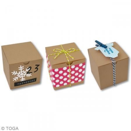 Caja cubo Kraft - 5,5 x 5,5 cm - 6 unidades - Fotografía n°2